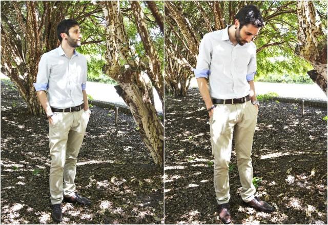 Se quiser uma roupa mais leve  e descomplicada vá de calça de sarja bege com camisa azul ou rosa